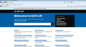 Screenshot of gov.uk homepage.