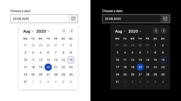 Screenshot of the Duet Date Picker output.