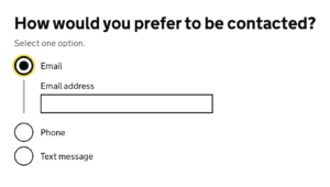 """Three radio buttons. One is selected. The selected one has a text input associated with it; hence """"conditional reveal""""."""